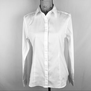 Lands End Fitted White Long Sleeve Shirt Sz 12